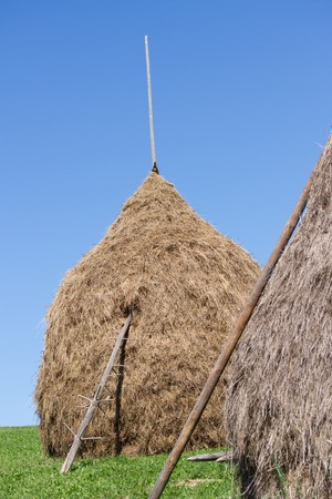 hayride: view of a hay bundle, clouse up