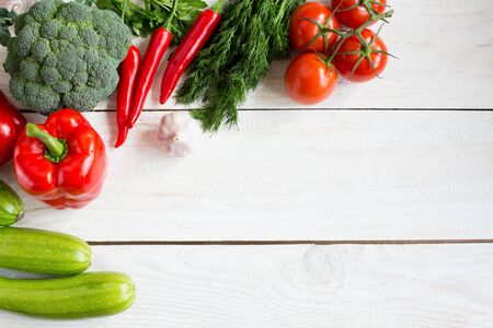Fresh Vegetables On Wood Background, Small Tomatoes, Pepper,.. Stock ...