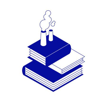 Simple minimalistic creative isometric icon. Books factory with smoking chimneys