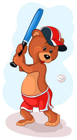 Bear playing in a basketball Vector