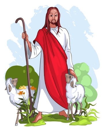pastor de ovejas: Yo soy el buen pastor de dar la vida por las ovejas (Juan 10: 11) Vectores