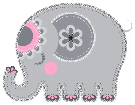 Applique' work in the form of elephant from a fabric Vectores