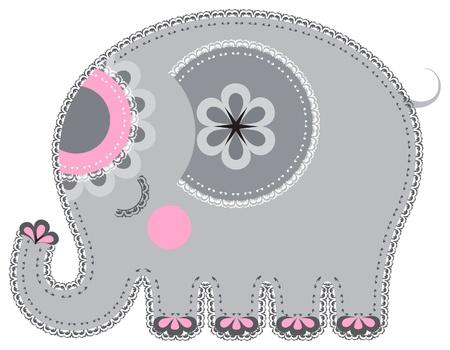 elefante: El trabajo de aplicaci�n en forma de elefante de un tejido Vectores