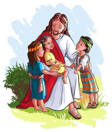 b�n�diction: J�sus avec enfants