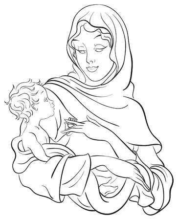 Vierge Marie hold baby Jesus Vecteurs