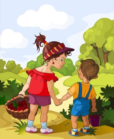 Children in the forest