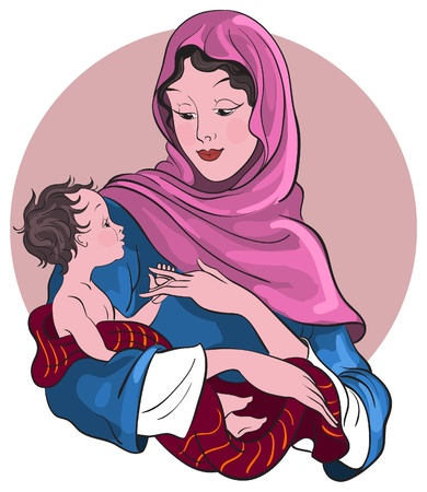 Virgin Mary hold baby Jesus Vector