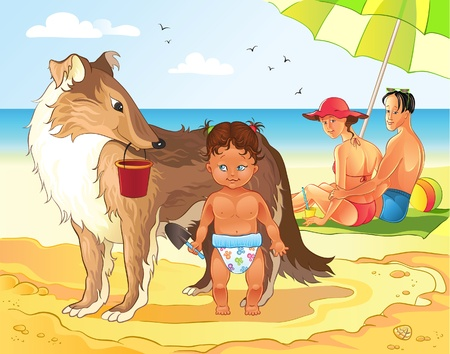Family Beach Vacations Vector