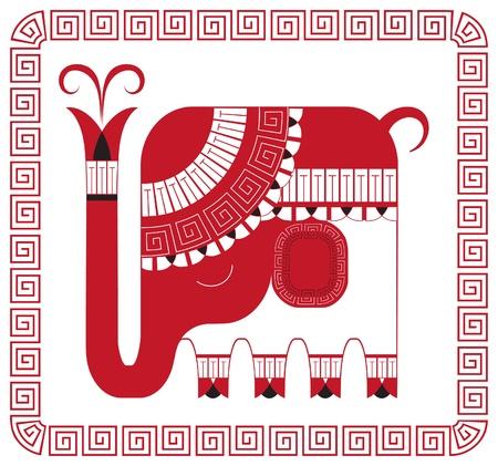 indian elephant: Elefante indio en estilo decorativo