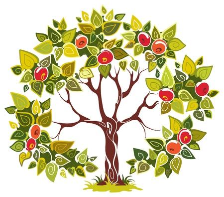 pommier arbre: Pommier fructueuse. Arbre panoramique pour votre conception