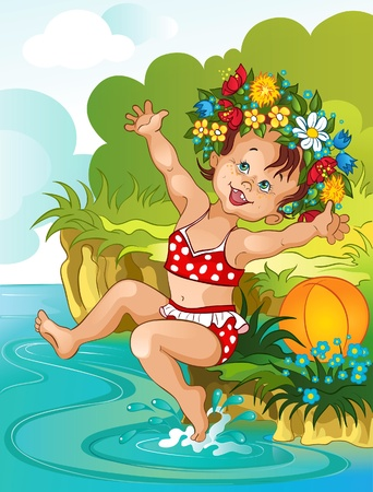 enfant maillot de bain: Petite fille et l'�t�