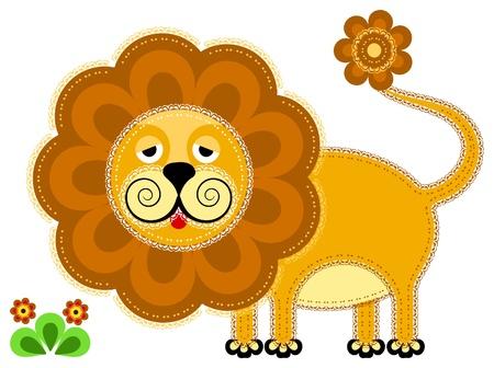 applique flower: Lion. Cute animal character for your design Illustration