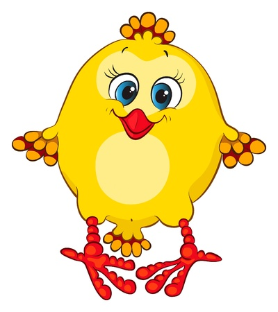 Cute blue-eyed chicken for your design Vector