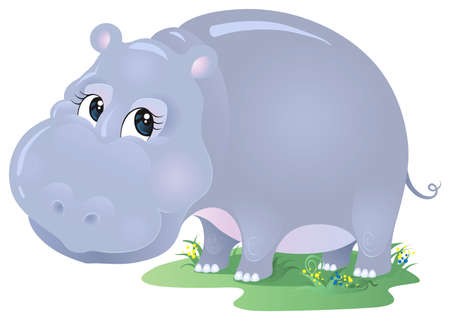 Hippo cartoon. No mesh or blends. Various components are grouped   separately Vector
