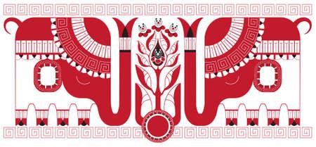 coup de pouce: Stylis� th�ier et les �l�phants comme des symboles de l'Inde, qui fournit le th�. Divers �l�ments sont regroup�s s�par�ment Illustration