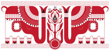 red indian: Stylized tea bush and elephants as symbols of the India, which supplies tea. Various   components are grouped separately Illustration