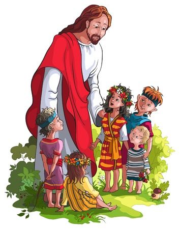 people in church: Jesus With Children. No gradients. Various components are grouped separately