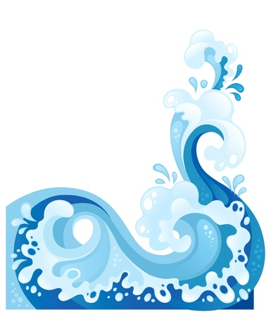 Fully editable stylized sea wave for your design. Various components are grouped separately Vectores