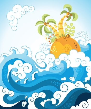Tropical island in the ocean in decorative style. Various components are grouped separately Vector