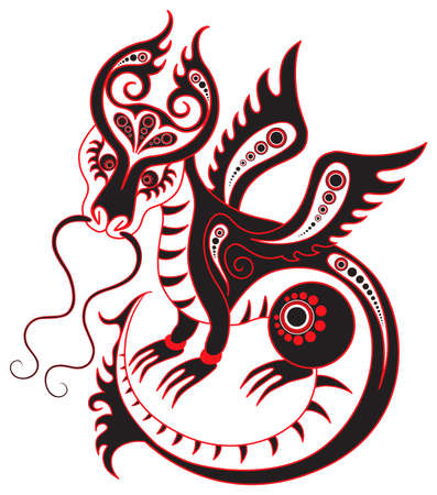 Chinese horoscope. Year of the black dragon Vector