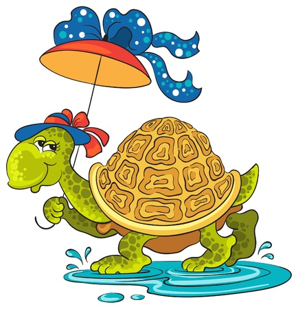 Cute Turtle walking through puddles with an umbrella