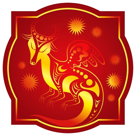Golden-red chinese horoscope. Dragon