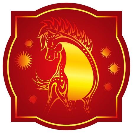 Golden-red chinese horoscope. Horse