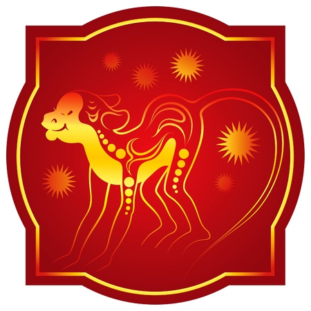 chinese new year element: Golden-red chinese horoscope. Monkey