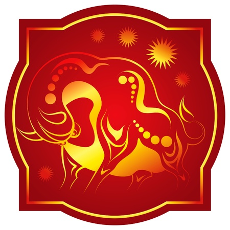 fortunetelling: Golden-red chinese horoscope. Ox Illustration