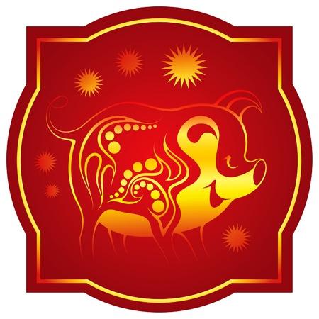 a horoscope new: Golden-red chinese horoscope. Pig Illustration