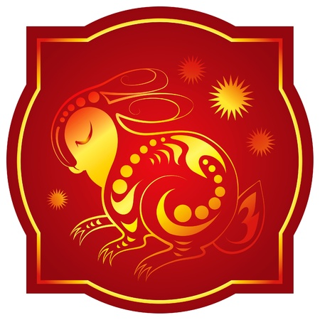 chinese new year rabbit: Golden-red chinese horoscope. Rabbit Illustration