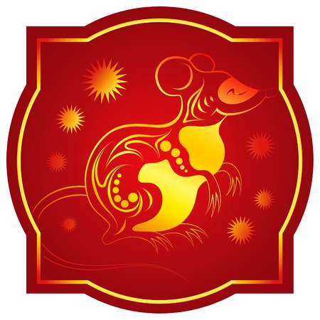 Golden-red chinese horoscope. Rat Vector