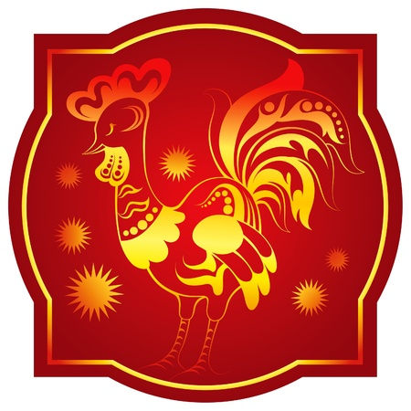 Golden-red chinese horoscope. Rooster Stock Vector - 10406468