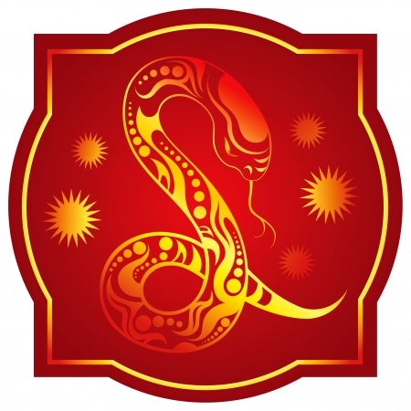 chinese new year snake: Golden-red chinese horoscope. Snake