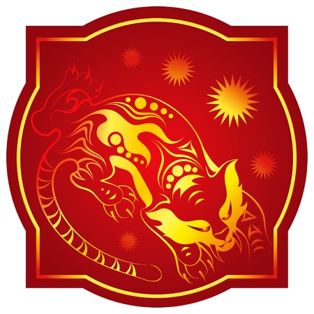 Golden-red chinese horoscope. Tiger