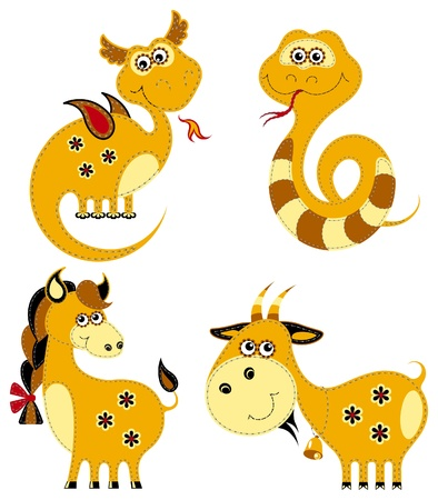 chinese new year snake: Funny applique chinese horoscope. Dragon, Snake, Horse and Goat
