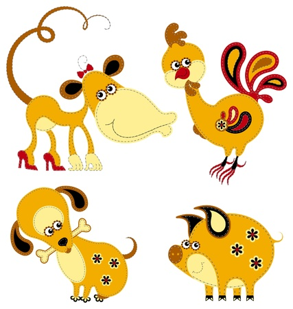 Funny applique chinese horoscope. Monkey, Rooster, Dog and Pig