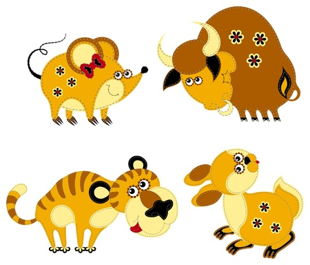 Funny applique chinese horoscope. Rat, Ox, Tiger and Rabbit Vectores