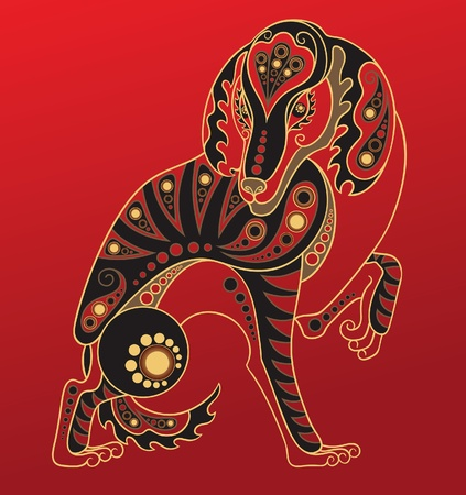 Chinese horoscope. Year of the dog Vector