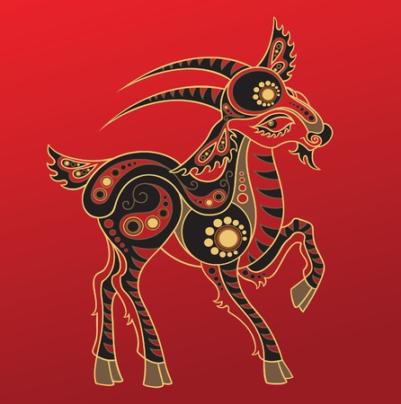 Chinese horoscope. Year of the goat Illustration