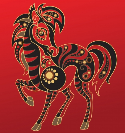 Chinese horoscope. Year of the horse Vector