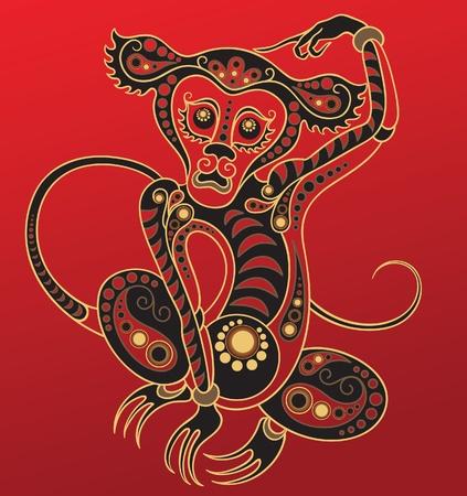 Chinese horoscoop. Jaar van de aap Stock Illustratie