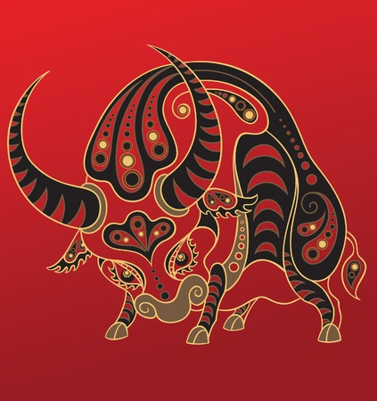 in ox: Chinese horoscope. Year of the ox Illustration