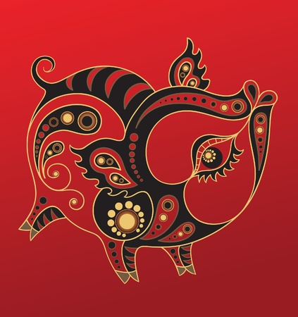 Chinese horoscope. Year of the pig Stock Vector - 10501877