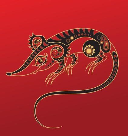 Chinese horoscope. Year of the rat Vector