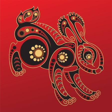 Chinese horoscoop. Jaar van het konijn Stockfoto - 10501882