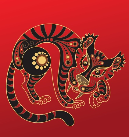 chinese astrology: Chinese horoscope. Year of the tiger Illustration