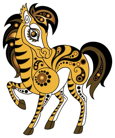 Horse in gold style Vector