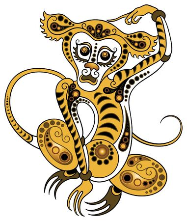 Monkey in gold style