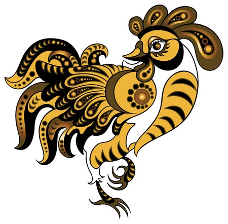 Rooster in gold style